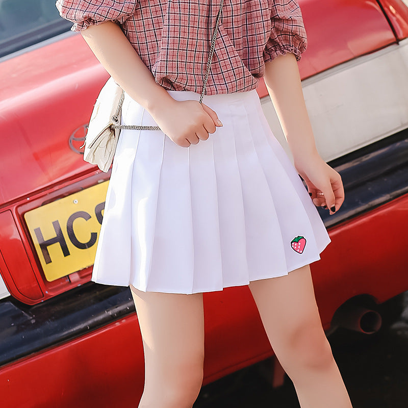 Five Colors Cute Strawberry Embroidery Girls Skirt High