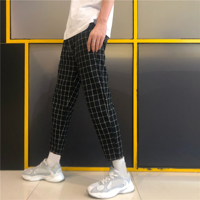 Korean Streetwear Fashion Plaid Block Slim Ankle Pant Summer