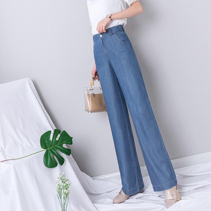 High Waist Wide Leg Jeans Women Summer Blue Denim
