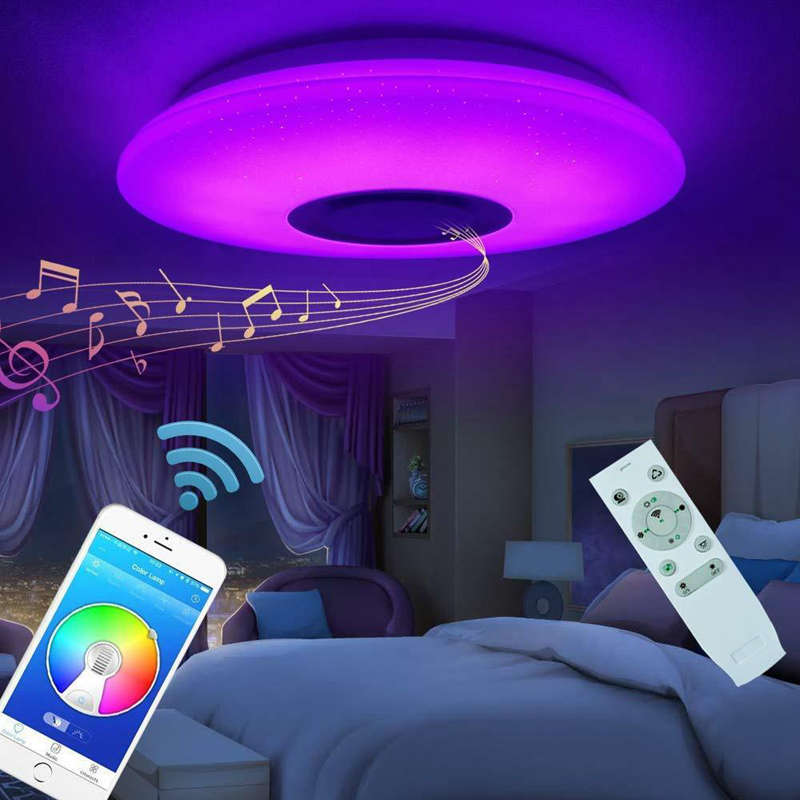 HOT Music Led Ceiling Light 60W Rgb Flush Mount Round Starlight