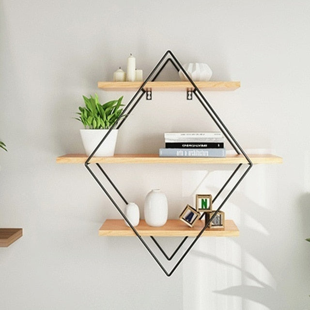 Nordic Metal Wall Shelf Three-tier Vintage Wood Wall Storage Shelf