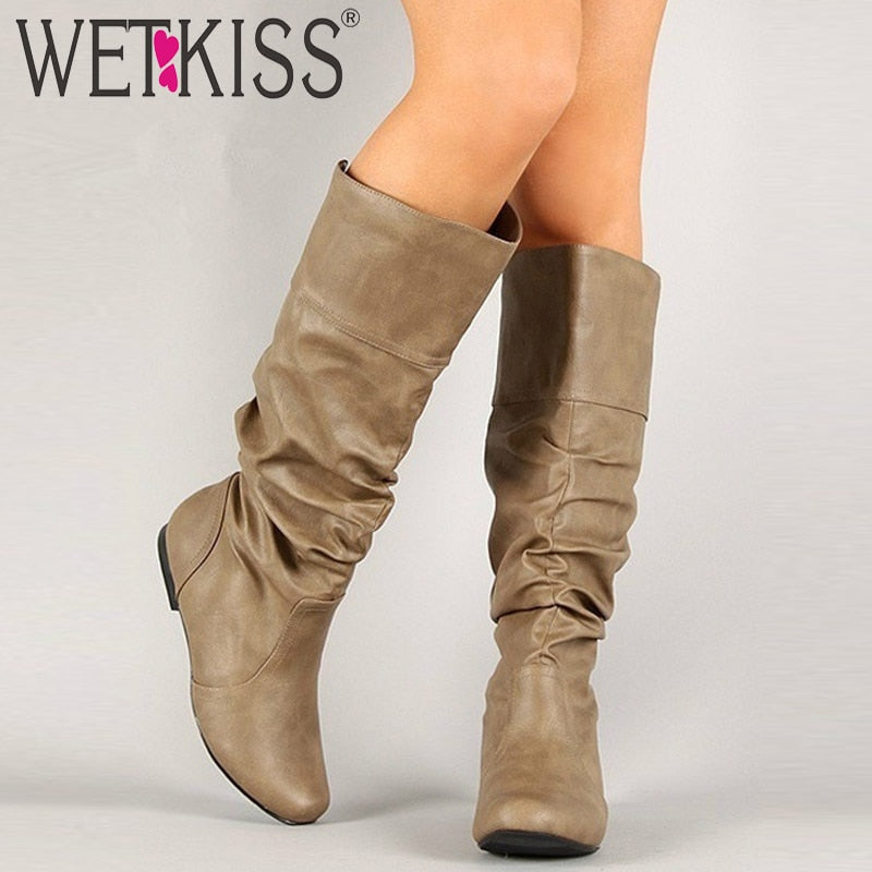WETKISS Plus Size 34-48 Mid-calf Insert Heels Women Pleated Boots