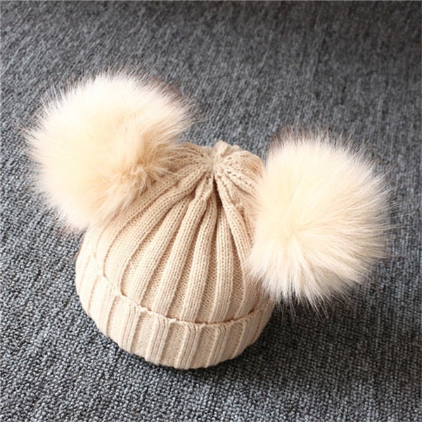 Baby Hat Pompon Winter Scarf Children Hat Knitted Cute Cap