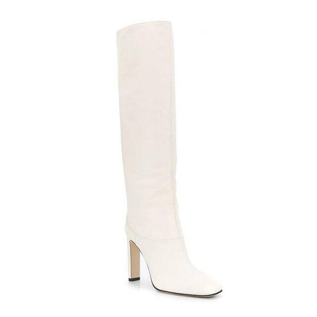 WETKISS Knee High Boots Women High Heels Thick Boots