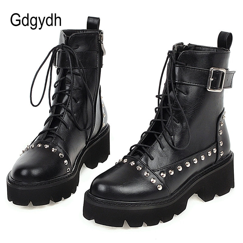 Gdgydh Sexy Rivet Military Women Lace Up Black Leather Ankle Boots