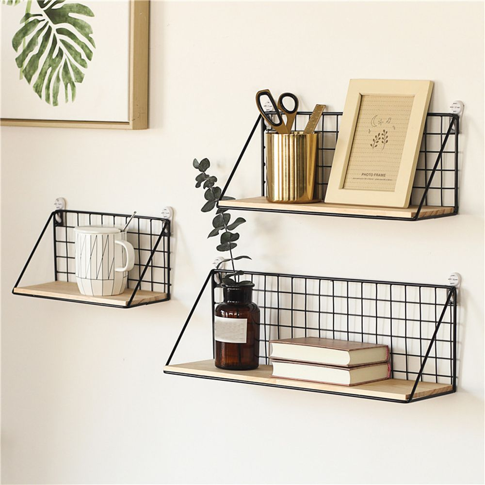 Wooden Iron Wall Shelf Wall Mounted Storage Rack Organization