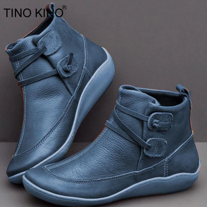TINO KINO Women's PU Leather Vintage Ankle Boots