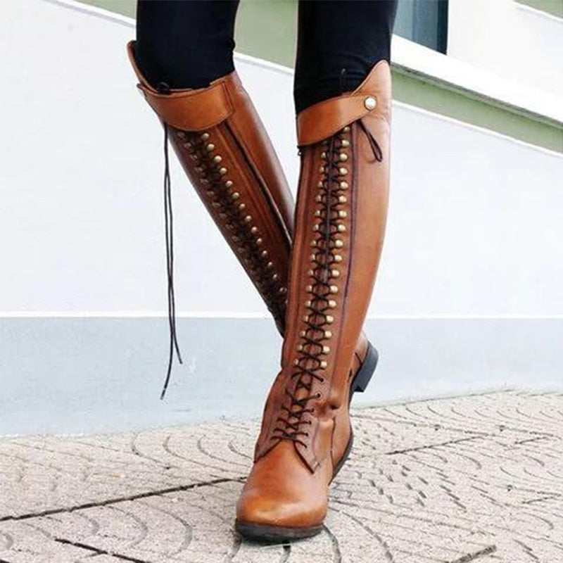 Women Retro Knee High Lace-Up High Quality PU Platform Riding Boots