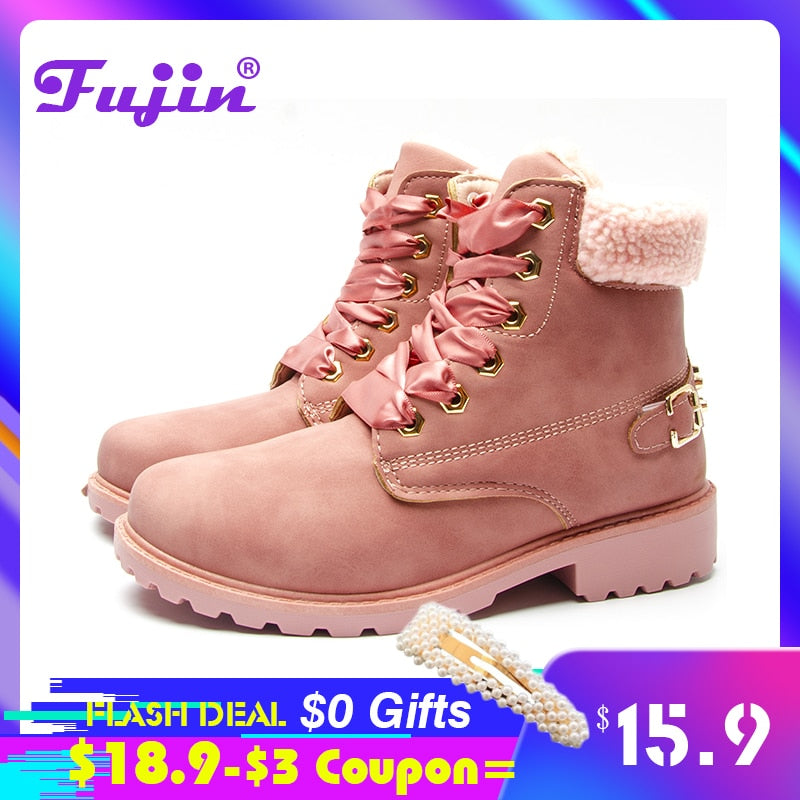 Fujin women winter boots Platform Pink Women Boots