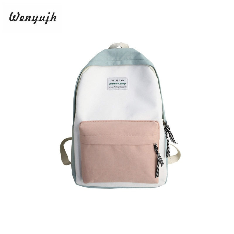 WENYUJH Casual Style Backpack Women Solid Canvas Backpack
