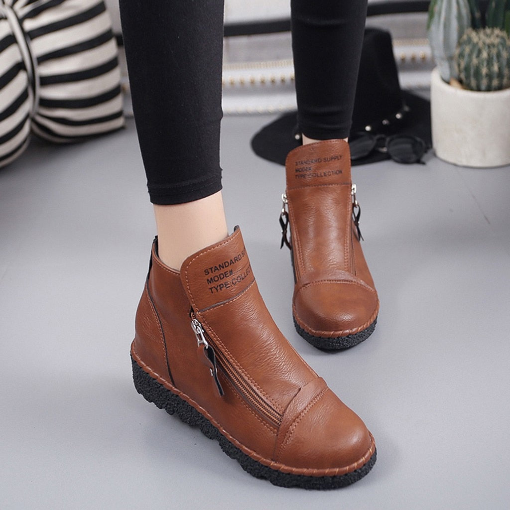Women's Ankle Zipper Increase Vintage PU Leather Shoes
