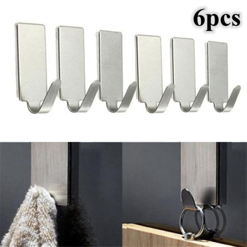 6pcs Adhesive Stainless Steel Towel Family Robe Hanging Hooks