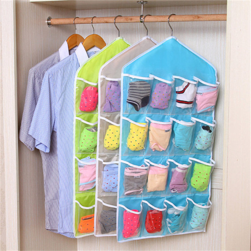 16 Pockets Hanging Closet Wardrobe Hanging Shelf Organizer
