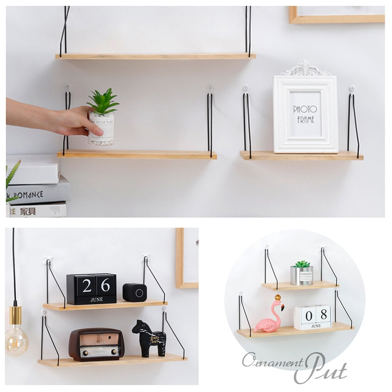 Nordic Style Creative Partition Shelf Wall Hanging Solid Wood Hook