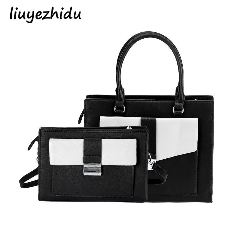 Simple black and white scrabble ladies handbag
