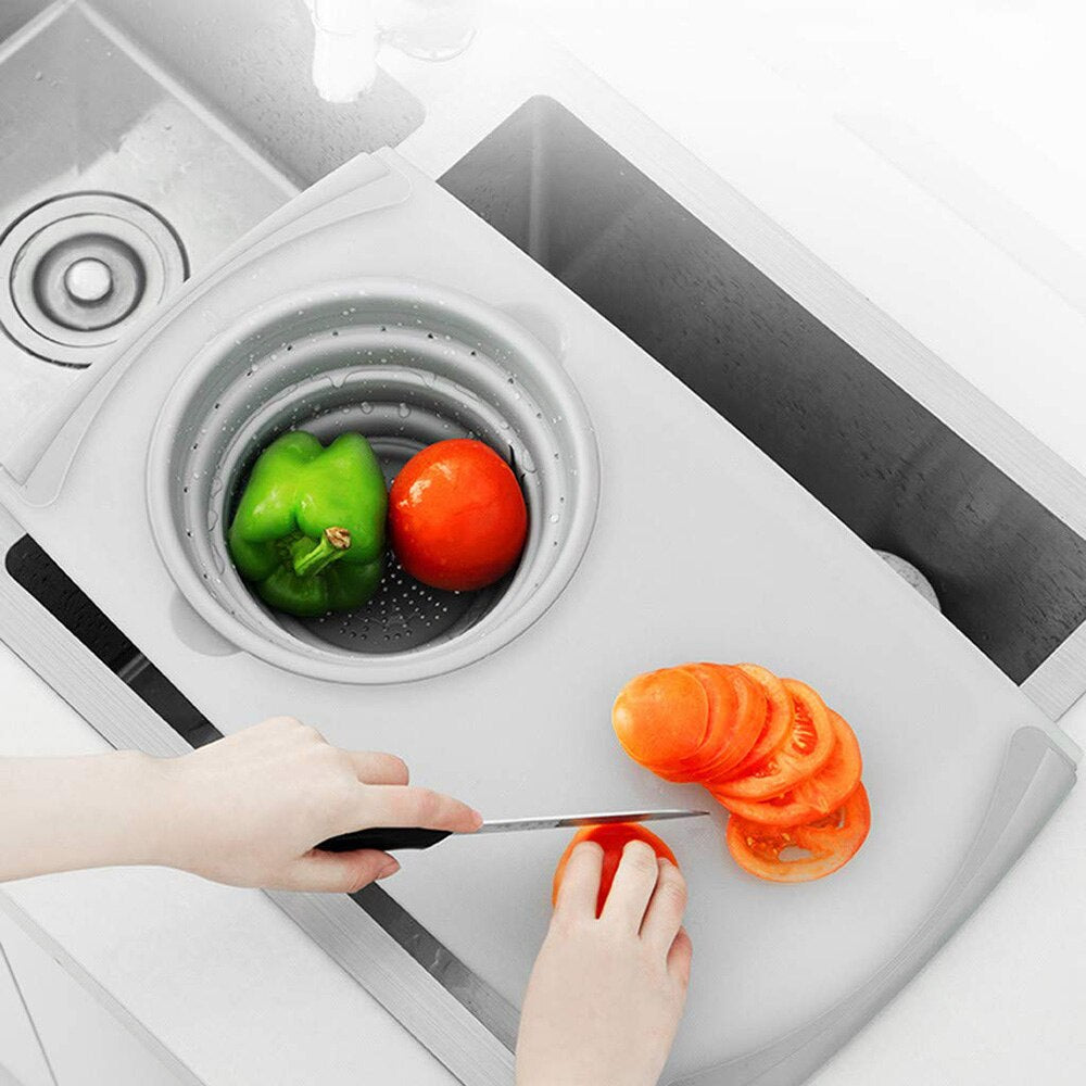 Kitchen Table Flexible Cutting Board Silicone Folding Drain