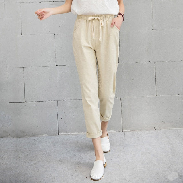 Elastic Waist Cotton Linen Pants Ankle Length Haren Pants