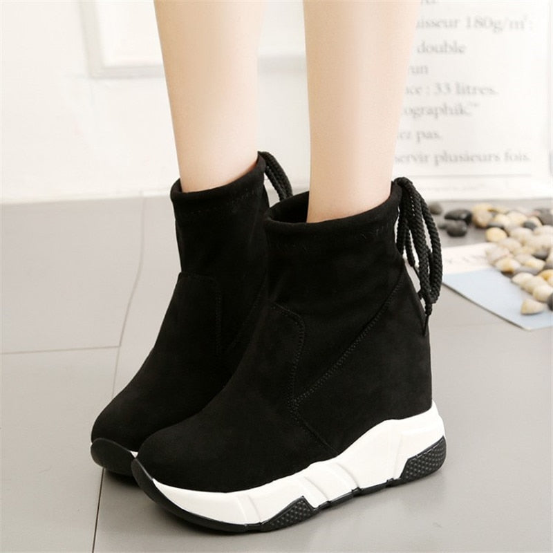 COOTELILI Women Ankle Boots Platforms Shoes Woman High Heels