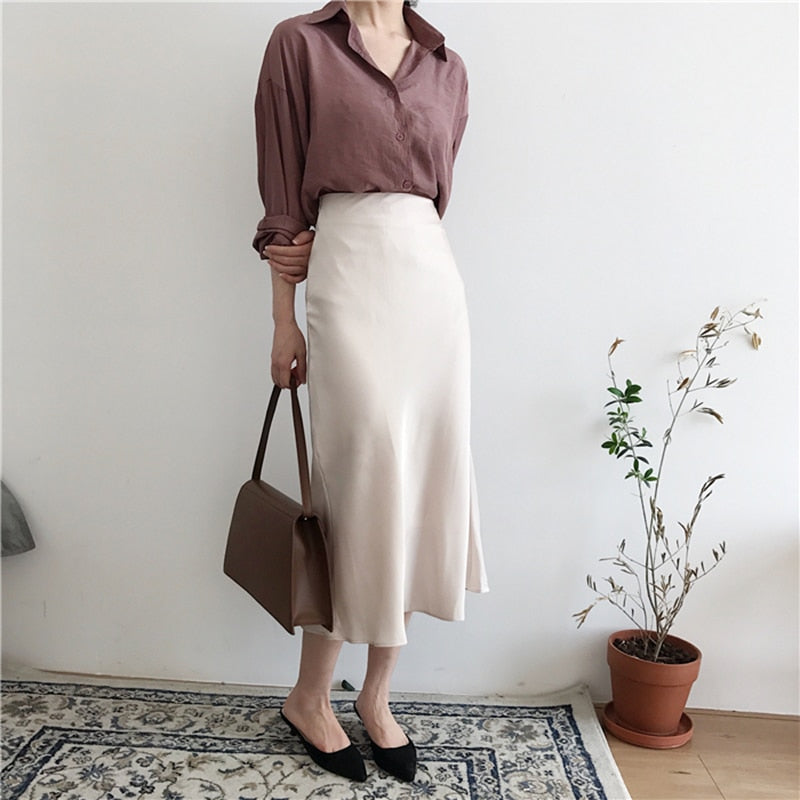 summer elegant high waist women long skirt solid A-line
