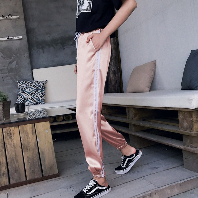 Pockets Military Pant Jogger Dance Satin Pants