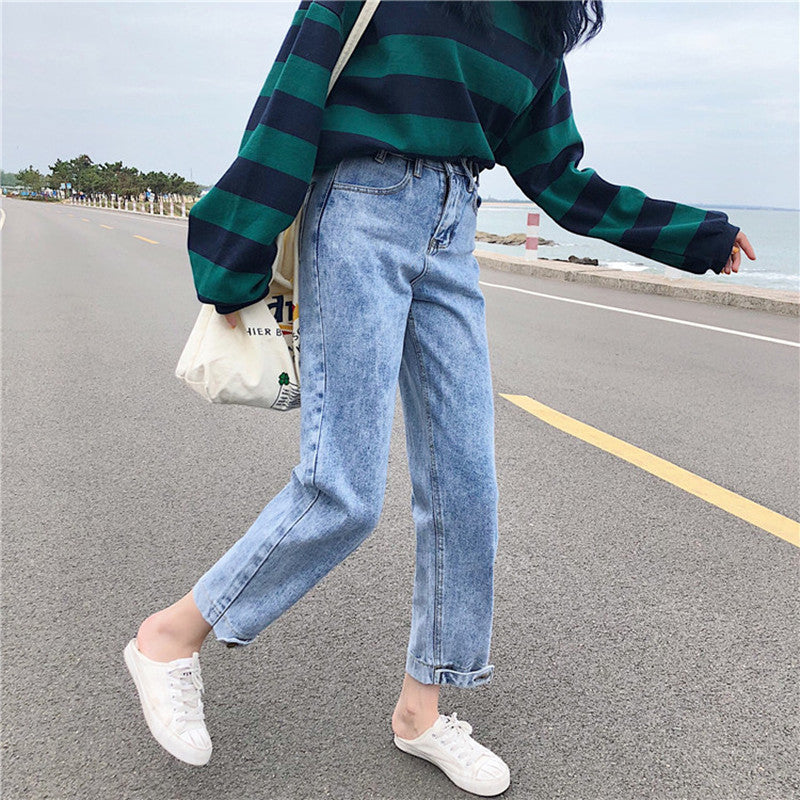 womens loose straight jeans denim pants