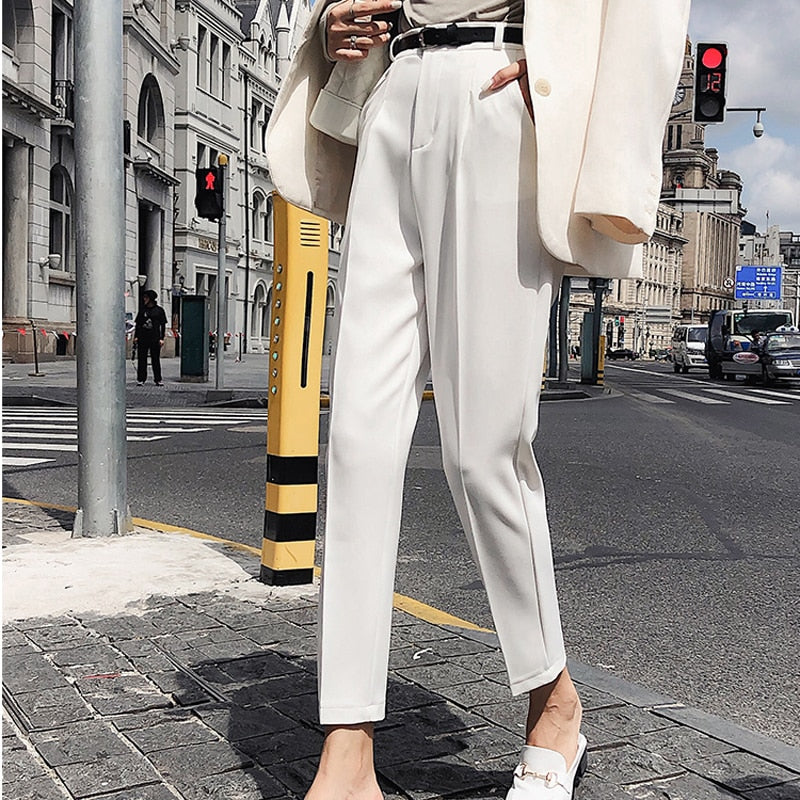 White Women Pants Casual Sashes Pencil Pant High