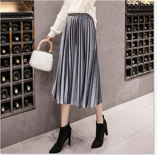 Skinny Large Swing Long Pleated Skirts Metallic Plus Size