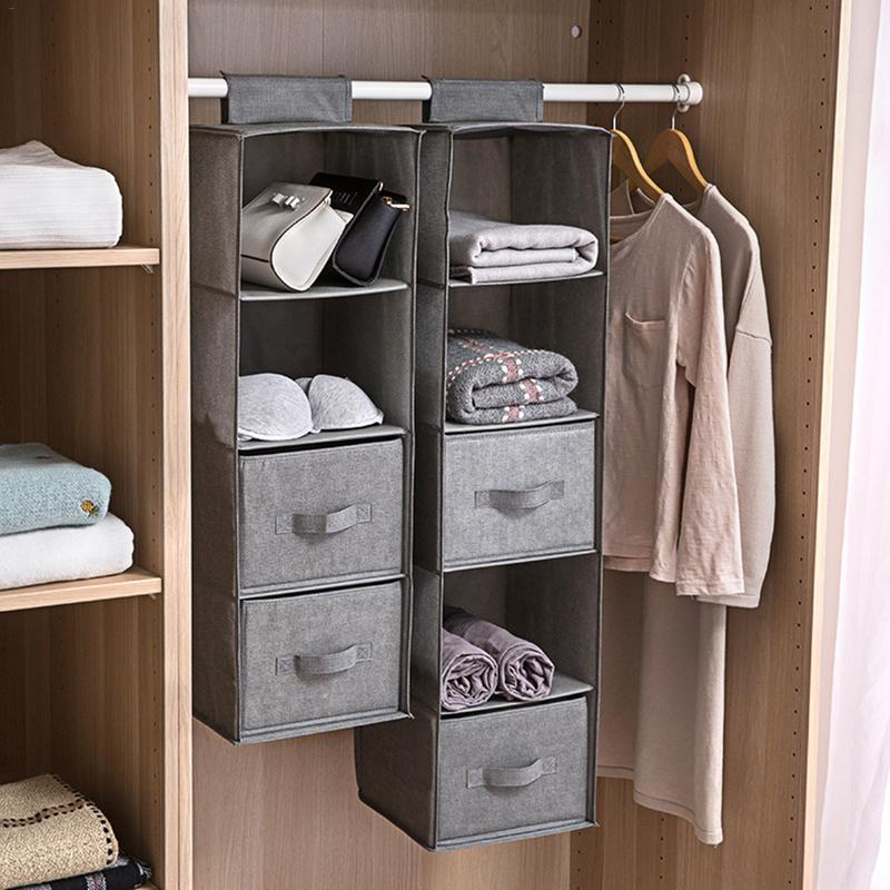 AUGKUN Wardrobe Hanging Storage Bag Interlayer Drawer