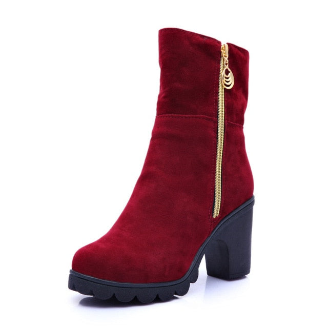 New 2019 Winter High Heel Boots Warm Plush Square Heels