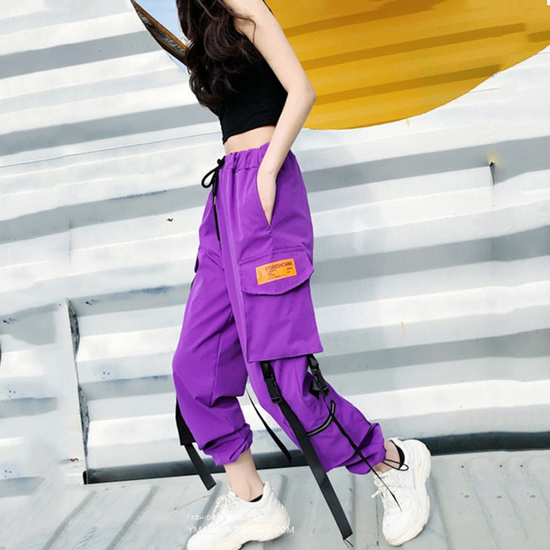 Hot Big Pockets Cargo pants women High Waist Loose Streetwear