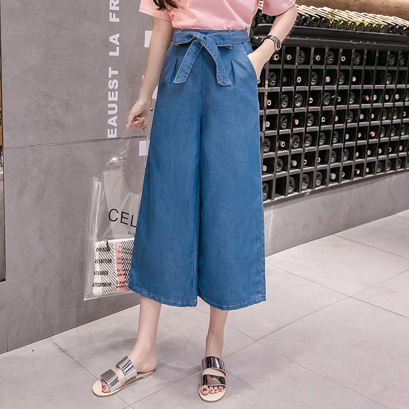 Jeans Womens Loose Fashion Bow Wide Leg Jeans