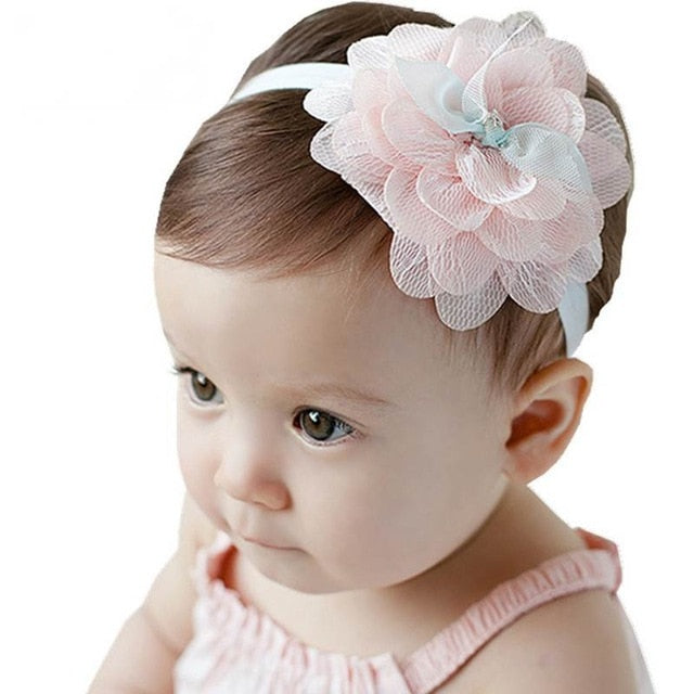 Baby Headband Flower Girls Pink Ribbon Hair Bands