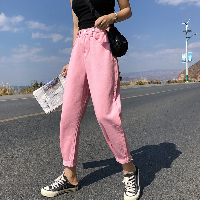 Casual Jeans Woman High Waist Loose Denim Harem Pants