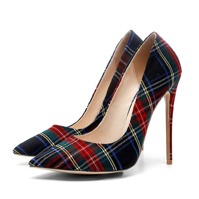 Big Size 33-45 Stiletto Heels Women Pumps Red Pointed Plaid Shoes