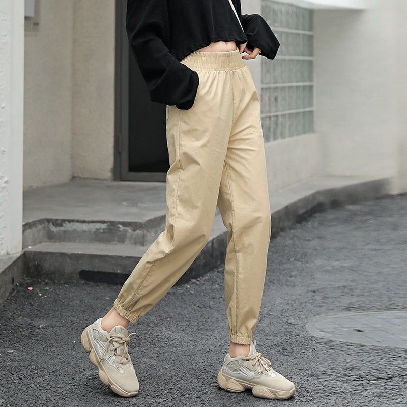 trousers streetwear punk cargo pants women capris loose