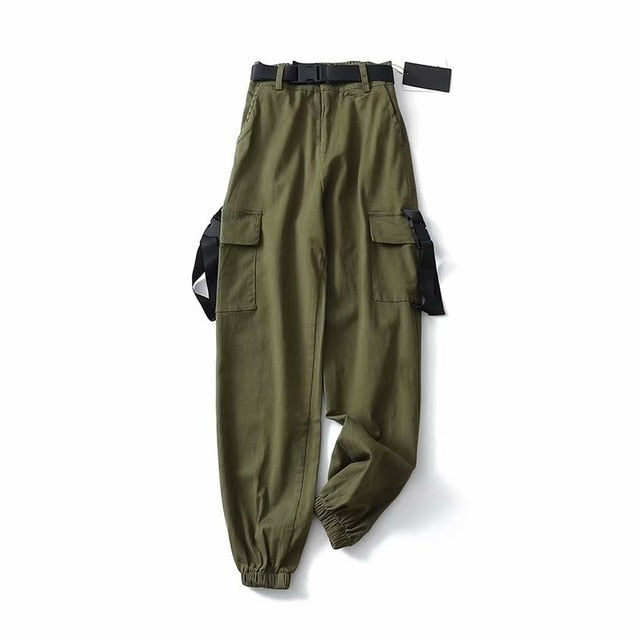 Spring Women BLACK Army Cargo Pants Unisex Hip Hop Sashes