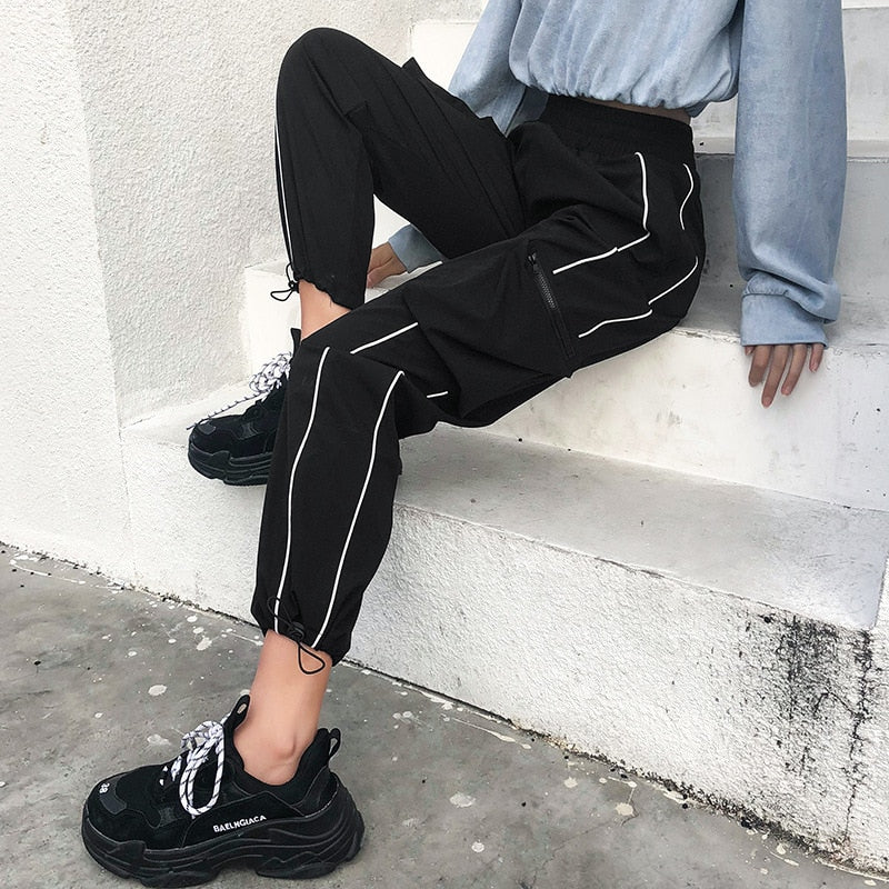 Harajuku Casual Black Cargo Pants Women Elastic