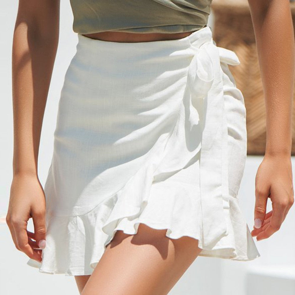 sexy mini skirt Fashion Women Solid Ruffles  Bandage
