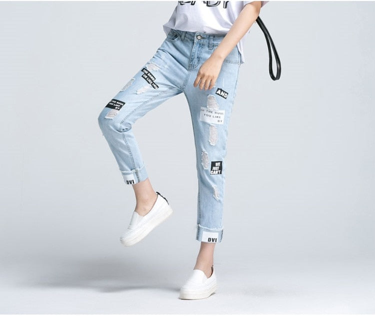 2019new Summer Letter Print Ripped Women Jeans