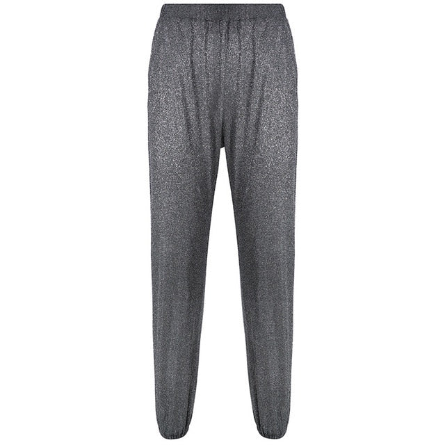 Dark Gray Glitter Dance Streetwear Pants Side Open Split