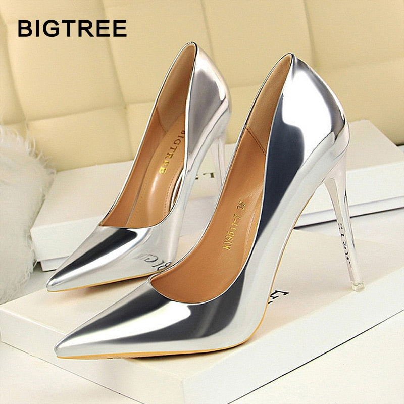 BIGTREE Shoes New Women Pumps Patent Leather High Heels Shoes