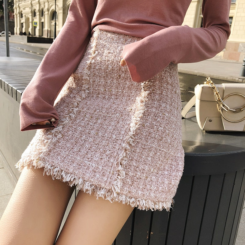 Tweed Mid Waist Skirt Autumn Fashion Women Skirts