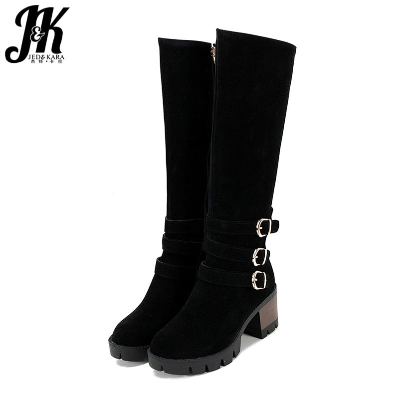 JK Winter Chunky Heels Boots Women Buckle Round Toe Zip