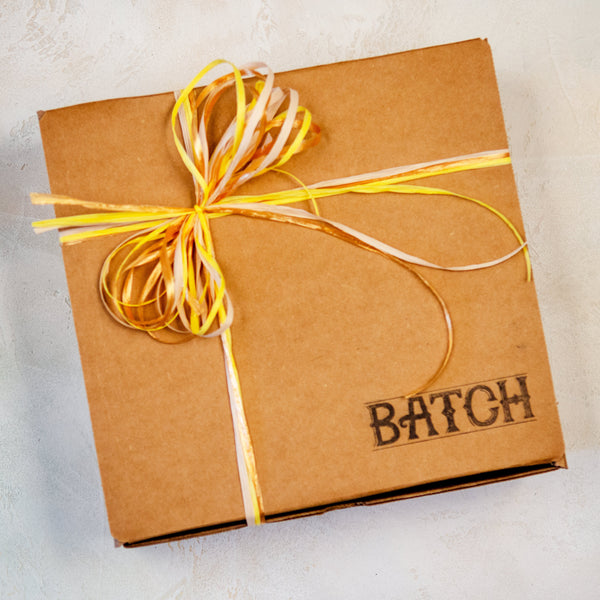 Batch Box Gift Wrapped with White, Yellow, and Gold