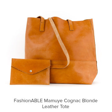 FashionABLE Mamuye Cognac Blonde Leather Tote