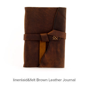 linenlaid&felt Brown Leather Journal