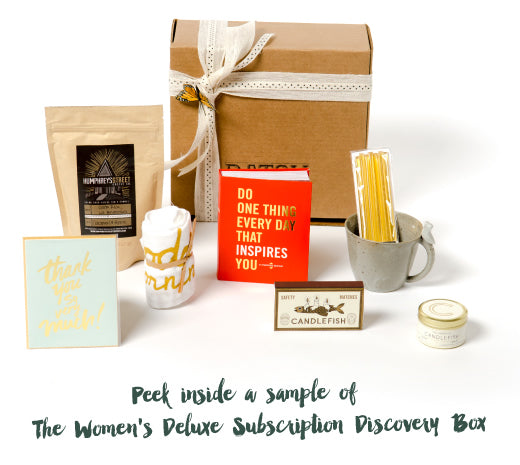 Peek inside a sample of the Women's Deluxe Batch Subscription Discovery Box