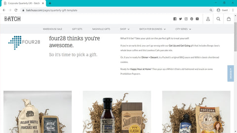 Batch Corporate Holiday Gift Landing Page Sample