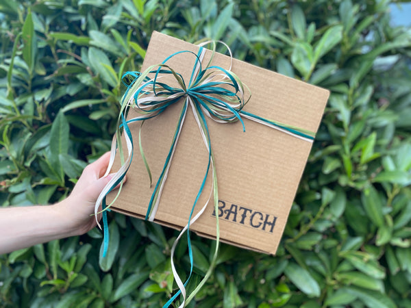 Hand holding Batch Box over Green Leaves