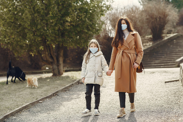 mom and daughter with face masks